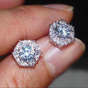 White Round Diamond Hexagon Halo Stud Earrings